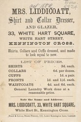 Advert for Mrs Liddicoatt, shirt & collar dresser